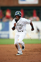 Kane County Cougars outfielder Chuck Taylor (19) running the bases during a game against the Great Lakes Loons on August 13, 2015 at Fifth Third Bank Ballpark in Geneva, Illinois.  Great Lakes defeated Kane County 7-3.  (Mike Janes/Four Seam Images)