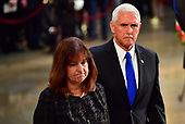 Vice President of the United States Mike Pence and wife Karen Pence view the casket of former Senator John McCain in the Capitol Rotunda where he will lie in state at the U.S. Capitol, in Washington, DC on Friday, August 31, 2018. McCain, an Arizona Republican, presidential candidate and war hero died August 25th at the age of 81. He is the 31st person to lie in state at the Capitol in 166 years.    Photo by Kevin Dietsch/UPI