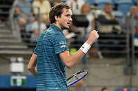 11th January 2020; Sydney Olympic Park Tennis Centre, Sydney, New South Wales, Australia; ATP Cup Australia, Sydney, Day 9; Serbia versus Russia;  Novak Djokovic versus Daniil Medvedev; Daniil Medvedev of Russia reacts after winning a point in his match against  Novak Djokovic of Serbia - Editorial Use