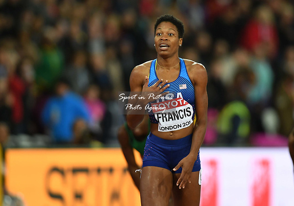Phyllis FRANCIS (USA) looks surprised after winning with her flag in the womens 400m final. IAAF world athletics championships. London Olympic stadium. Queen Elizabeth Olympic park. Stratford. London. UK. 09/08/2017. ~ MANDATORY CREDIT Garry Bowden/SIPPA - NO UNAUTHORISED USE - +44 7837 394578