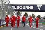 13.03.2019, Albert-Park, Melbourne, FORMULA 1 ROLEX AUSTRALIAN GRAND PRIX 2019<br /> , im Bild<br />Die Fahrer gehen mit ihren Ingenieuren die Strecke ab<br />Sebastian Vettel (GER#5), Scuderia Ferrari<br /> <br /> Foto &copy; nordphoto / Bratic
