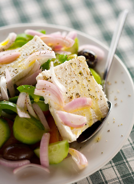 A Greek salad on Aegina Island, Greece. Photo by Kevin J. Miyazaki/Redux