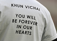 Close-up of t-shirt paying tribute to Vichai Srivaddhanaprabha<br /> <br /> Photographer Kevin Barnes/CameraSport<br /> <br /> The Premier League -  Cardiff City v Leicester City - Saturday 3rd November 2018 - Cardiff City Stadium - Cardiff<br /> <br /> World Copyright © 2018 CameraSport. All rights reserved. 43 Linden Ave. Countesthorpe. Leicester. England. LE8 5PG - Tel: +44 (0) 116 277 4147 - admin@camerasport.com - www.camerasport.com