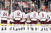 Bill Arnold (BC - 24), Steven Whitney (BC - 21), Kevin Hayes (BC - 12), Barry Almeida (BC - 9), Danny Linell (BC - 10), Pat Mullane (BC - 11), Edwin Shea (BC - 8), Michael Sit (BC - 18) - The Boston College Eagles defeated the Merrimack College Warriors 4-2 to give Head Coach Jerry York his 900th collegiate win on Friday, February 17, 2012, at Kelley Rink at Conte Forum in Chestnut Hill, Massachusetts.