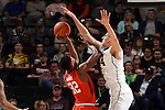 28 February 2016: Wake Forest's Konstantinos Mitoglou (GRE) (44) blocks a shot by Virginia Tech's Zach LeDay (32). The Wake Forest University Demon Deacons hosted the Virginia Tech Hokies at Lawrence Joel Veterans Memorial Coliseum in Winston-Salem, North Carolina in a 2015-16 NCAA Division I Men's Basketball game. Virginia Tech won the game 81-74.