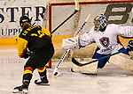 07.01.2020, BLZ Arena, Füssen / Fuessen, GER, IIHF Ice Hockey U18 Women's World Championship DIV I Group A, <br /> Deutschland (GER) vs Frankreich (FRA), <br /> im Bild Eline Gillodes (FRA, #1) kann Schuss von Luisa Welcke (GER, #13) abwehren<br /> <br /> Foto © nordphoto / Hafner