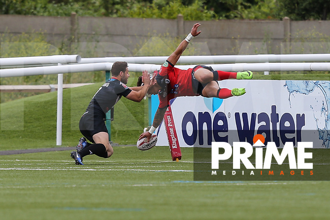 Misi Taulapapa of Featherstone Rovers scores a try during the Kingstone Press Championship match between London Broncos and Featherstone Rovers at Castle Bar , West Ealing , England  on 25 June 2017. Photo by David Horn.