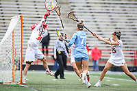 College Park, MD - February 24, 2019: Maryland Terrapins defender Julia Braig (24) makes a save during the game between North Carolina and Maryland at  Capital One Field at Maryland Stadium in College Park, MD.  (Photo by Elliott Brown/Media Images International)