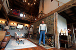 """ROXBURY, CT - 15 OCTOBER 2017 -101517JW08.jpg --  Ed Cady poses for a photo at his home during a break in filming HGTV's """"You Live in What?"""" Sunday morning. Jonathan Wilcox Republican-American"""
