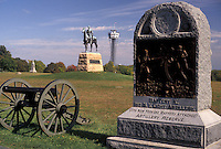 AJ3176, Gettysburg, battlefield, civil war, Gettysburg Military Park, Pennsylvania, Monuments, cannon and historical points scattered throughout Gettysburg National Military Park in Gettysburg in the state of Pennsylvania.
