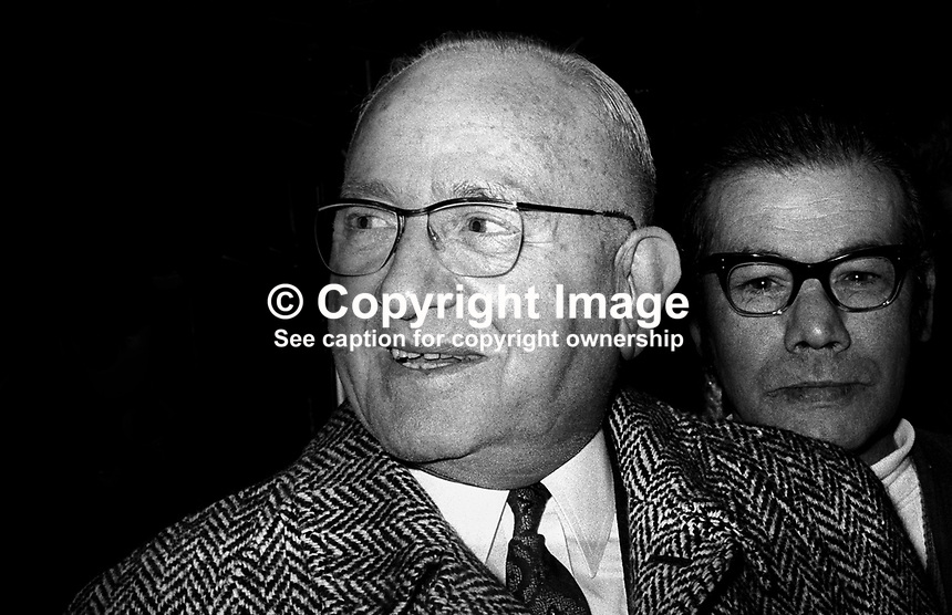 Jack Solomans, London, UK, boxing promoter, pictured in Belfast, N Ireland, April 1971. Behind him with glasses is Billy Smyth, a former Irish professional lightweight champion from the Belfast Markets Area of Belfast. 197104000247<br />
