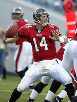Tamp Bay Buccaneer quarterback Brad Johnson (#14) throws a pass  during an NFL preseason game in Jacksonville, FL on Friday, August 15, 2002.  Tampa bay won the game 20 to 0. (Photo by Brian Cleary/ www.bcpix.com )