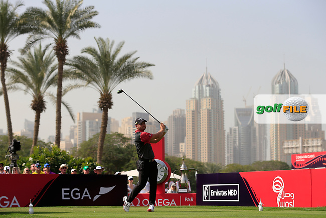 Jordan Smith (ENG) on the 1st tee during Round 4 of the Omega Dubai Desert Classic, Emirates Golf Club, Dubai,  United Arab Emirates. 27/01/2019<br /> Picture: Golffile | Thos Caffrey<br /> <br /> <br /> All photo usage must carry mandatory copyright credit (&copy; Golffile | Thos Caffrey)