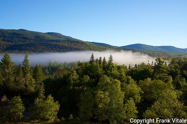 Morning Mist drifts across Mount Washington Valley