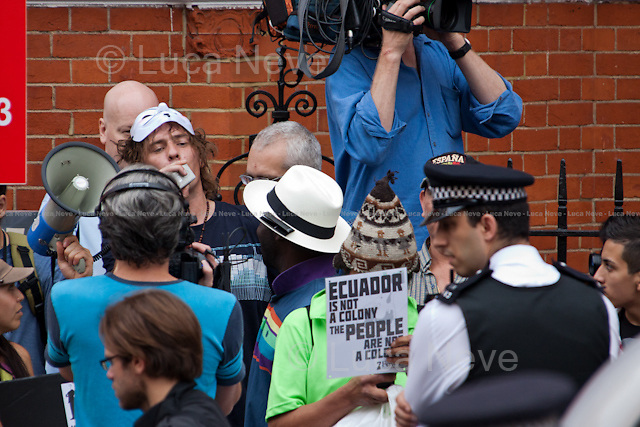 London, 16/08/2012. Today, the President of Ecuador Rafael Correa and his Government granted the Diplomatic Asylum to the founder of Wikileaks Julian Assange.