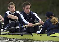 London, GREAT BRITAIN. Oxford Trail VIIIs.Matt Smith,  Oxford President, centre.. Varsity: Boat Race [Mandatory Credit: Peter Spurrier: Intersport Images]