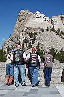 Bikers from Texas, here for the Sturgis Rally, do a little site seeing at Mount Rushmore National Memorial in Keystone, South Dakota on August 13, 2010.