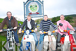In a bid to raise funds for charity a  group of Honda 50's and electric bike cyclist will make their way from the Highest pub in Ireland 'Top of Coom' to the Highest pub in England 'The Tan Hill Inn'. .L-R Damien Dineen, John A Murphy, Michael Twomey and James Hickey.