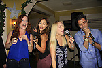 OLTL Melissa Archer & General Hospital Lindsey Morgan, Kristen Alderson and Erik Valdez sing (and WELL) at SoapFest's Celebrity Weekend - Celebrity Karaoke Bar Bash - autographs, photos, live auction raising money for kids on November 10, 2012 at Bistro Soleil at Old Historic Marco  Island, Florida. (Photo by Sue Coflin/Max Photos)