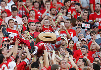 Brutus Buckeye crowd surfs up the student section during the second quarter of the NCAA football game against the Cincinnati Bearcats at Ohio Stadium in Columbus on Sept. 27, 2014. (Adam Cairns / The Columbus Dispatch)