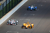 May 28th Indianapolis Speedway, Indiana, USA;  Fernando Alonso, driver of the #29 McLaren-Honda-Andretti Honda, passes Will Power, driver of the #12 Team Penske Chevrolet, during the running of the 101st Indianapolis 500 on May 28th, 2017 at the Indianapolis Motor Speedway in Indianapolis, IN.