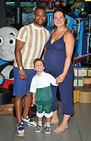 Jonathan Benjamin &quot;JB&quot; Gill, Ace Jeremiah Gill and Chloe Tang at the &quot;Thomas &amp; Friends: Big World! Big Adventures!&quot; UK film premiere, Vue West End, Leicester Square, London, England, UK, on Saturday 07 July 2018.<br /> CAP/CAN<br /> &copy;CAN/Capital Pictures
