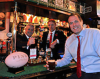 London, England. British & Irish Lions 2013 Head Coach Warren Gatland, Lewis Moody and Martin Bayfield at the launch of the Thomas Pink unveils its British & Irish Lions Collection as the new Official Outfitters for the iconic rugby team at  The Pink Lion, London, England on October 30. 2012.