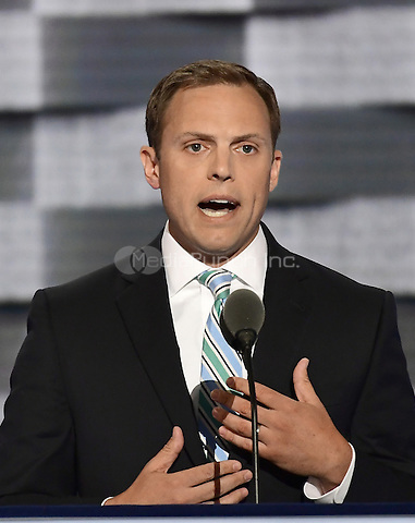 Luke Feeney of Chillicothe, Ohio makes remarks at the 2016 Democratic National Convention at the Wells Fargo Center in Philadelphia, Pennsylvania on Monday, July 25, 2016.<br /> Credit: Ron Sachs / CNP/MediaPunch<br /> (RESTRICTION: NO New York or New Jersey Newspapers or newspapers within a 75 mile radius of New York City)