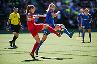 Seattle, WA - Saturday, August 26th, 2017: Katherine Reynolds and Beverly Yanez during a regular season National Women's Soccer League (NWSL) match between the Seattle Reign FC and the Portland Thorns FC at Memorial Stadium.