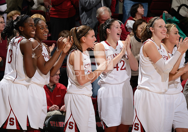 STANFORD, CA - DECEMBER 28: Stanford women's basketball celebrates a 3-pointer by Grace Mashore late in a game against Xavier on December 28, 2010 at Maples Pavilion in Stanford, California.  Stanford topped Xavier, 89-52.