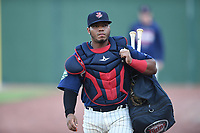 Kidany Salva (8) of the Elizabethton Twins walks toward the dugout prior to a game against the Princeton Rays at Northeast Community Credit Union Ballpark on July 23, 2019 in Elizabethton, Tennessee. The Rays defeated the Twins 8-3. (Tracy Proffitt/Four Seam Images)