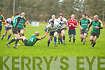 PIERCING THE COVER: Tralee out half, Dermot O'Sullivan cuts through the Mallow defence during the Heineken Munster Junior League game with Mallow at O'Dowd Park on Sunday. The former Connacht player got the first try for Tralee in a 21-3 victory.   Copyright Kerry's Eye 2008