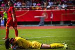 31.08.2019, Auestadion, Kassel, GER, DFB Frauen, EM Qualifikation, Deutschland vs Montenegro , DFB REGULATIONS PROHIBIT ANY USE OF PHOTOGRAPHS AS IMAGE SEQUENCES AND/OR QUASI-VIDEO<br /> <br /> im Bild | picture shows:<br /> Ivana Cabarkapa (Montenegro #12) haelt den Ball fest, <br /> <br /> Foto © nordphoto / Rauch