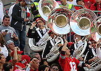 OSU marching Band member Kristoffer Hamilton tips his hat while playing in the stands during the game against Northwestern University at Ohio Stadium in Columbus, Ohio on October 29, 2016. (Columbus Dispatch photo by Brooke LaValley)