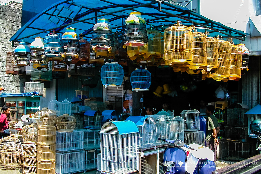 Indonesia, Java, Bogor. Birds for sale on a market in the city center.