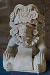 A ceramic effigy with a snake tongue from the ruins of the Zapotec city of Atzompa in the Museo Comunitario Santa Maria Atzompa, Oaxaca, Mexico.