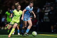 Seattle, WA - Sunday, May 22, 2016: Chicago Red Stars defender Arin Gilliland (3) maintains possession against Seattle Reign FC midfielder Beverly Yanez (17) during a regular season National Women's Soccer League (NWSL) match at Memorial Stadium. Chicago Red Stars won 2-1.