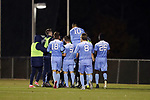 CARY, NC - NOVEMBER 19: North Carolina's Mauricio Pineda (2) is mobbed by teammates after scoring a goal. The University of North Carolina Tar Heels hosted the UNCW Seahawks on November 19, 2017 at Koka Booth Stadium in Cary, NC in an NCAA Division I Men's Soccer Tournament Second Round game. UNC won the game 2-1.
