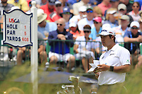 Hideki Matsuyama (JPN) on the 1st tee start his match during Sunday's Final Round of the 117th U.S. Open Championship 2017 held at Erin Hills, Erin, Wisconsin, USA. 18th June 2017.<br /> Picture: Eoin Clarke | Golffile<br /> <br /> <br /> All photos usage must carry mandatory copyright credit (&copy; Golffile | Eoin Clarke)
