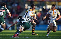 Elliot Daly of Wasps takes on the Leicester Tigers defence. Aviva Premiership match, between Leicester Tigers and Wasps on November 1, 2015 at Welford Road in Leicester, England. Photo by: Patrick Khachfe / Onside Images