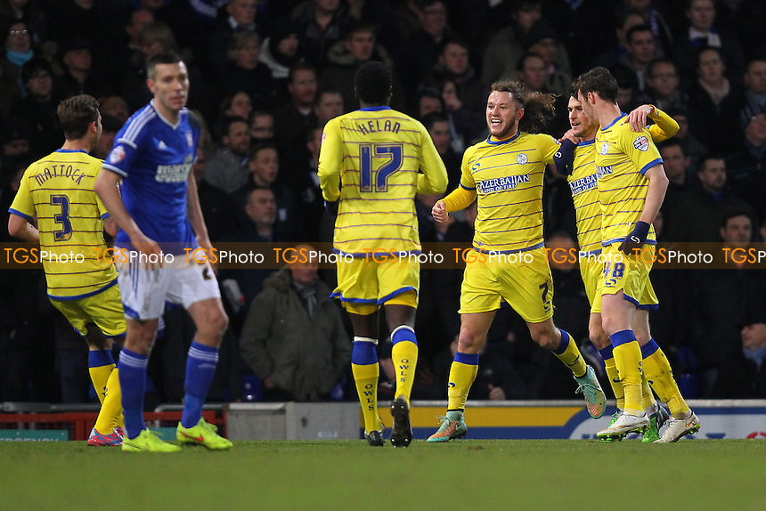 Kieran Lee of Sheffield Wednesday (2nd R) is congratulated on scoring the first goal for his team - Ipswich Town vs Sheffield Wednesday - Sky Bet Championship Football at Portman Road, Ipswich, Suffolk  - 10/02/15 - MANDATORY CREDIT: Gavin Ellis/TGSPHOTO - Self billing applies where appropriate - contact@tgsphoto.co.uk - NO UNPAID USE
