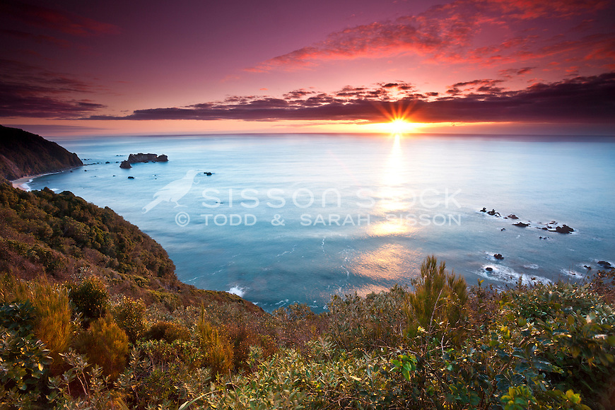 Sunset at Knights Point on the West Coast of the South Island, New Zealand