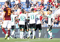 Calcio, Serie A: Roma vs Sassuolo. Roma, stadio Olimpico, 20 settembre 2015.<br /> Sassuolo&rsquo;s Matteo Politano, center, celebrates with teammates after scoring during the Italian Serie A football match between Roma and Sassuolo at Rome's Olympic stadium, 20 September 2015.<br /> UPDATE IMAGES PRESS/Isabella Bonotto