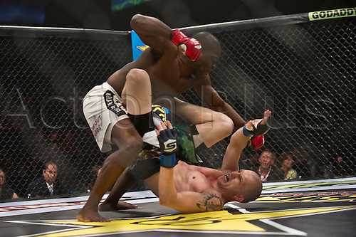 24.06.2011, Washinton, USA.  Derek Brunson loads up to deliver a shot on Jeremy Hamilton during the STRIKEFORCE Challengers at the ShoWare Center in Kent, Washington. Brunson won by unanimous decision.