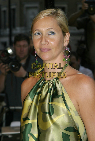 TANYA BRYER.UK Premiere of M. Night Shyamalan's The Village at Odeon West End Leicester Square, London W1.August 10th, 2004.headshot, portrait, halterneck, pucci, green, beaded hoop earrings.www.capitalpictures.com.sales@capitalpictures.com.© Capital Pictures.