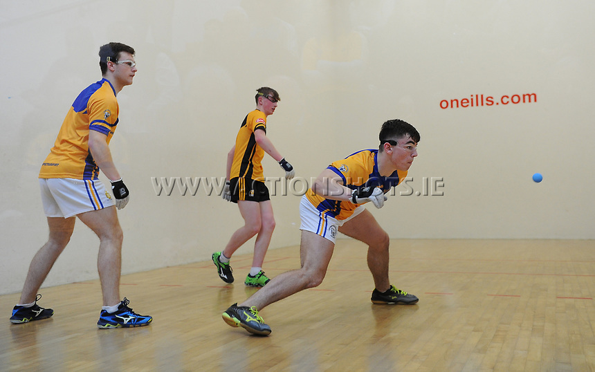 07/04/2018; GAA Handball O&rsquo;Neills 40x20 Championship Final Boys Minor Doubles Clare (Tiarnan Agnew/Mark Rodgers) v Kilkenny (Padraig Foley/Eoin Brennan); Kingscourt, Co Cavan;<br /> Mark Rodgers<br /> Photo Credit: actionshots.ie/Tommy Grealy