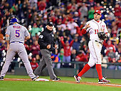 New York Mets third baseman David Wright (5) stands at first base after being doubled off first base in the eighth inning against the Washington Nationals at Nationals Park in Washington, D.C. on Wednesday, April 8, 2015.  Nationals first baseman Ryan Zimmerman (11) walks off the field after making the play.  The Nationals won the game 2-1.<br /> Credit: Ron Sachs / CNP<br /> (RESTRICTION: NO New York or New Jersey Newspapers or newspapers within a 75 mile radius of New York City)