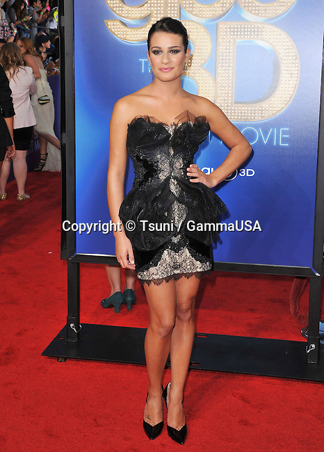 Lea Michele at the GLEE The 3D Concert Movie Premiere at the Westwood Village Theatre In Los Angeles.