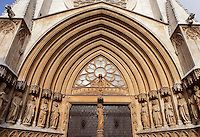 Portal of the Cathedral; XII Century, Tarragona, Catalonia, Spain; finest example of transitional architecture, contrasting both Romanesque and Gothic aesthetics; Perched on the hilltop of the historical centre, it overlaps the site of a former Roman temple. Picture by Manuel Cohen