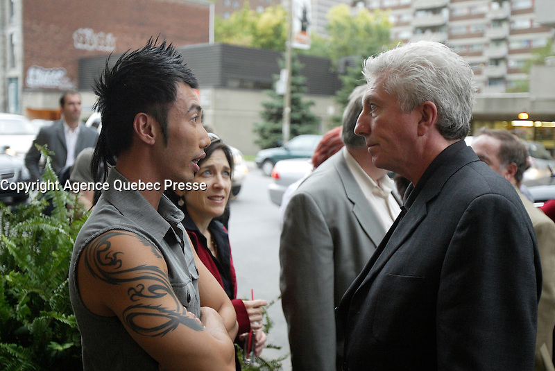 Montreal (QC) CANADA, October 3rd 2007 -<br /> Gilles Duceppe, leader of the Bloc Quebecois (R) at the at the<br /> Launch of Montreal Designer Dinh Ba, at his boutique on Amherst street in Montreal.<br /> <br /> <br /> photo : (c) &uml;Pierre Roussel -  images Distribution